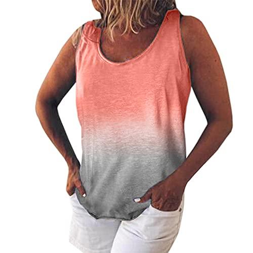 Cuello Redondo para Mujer Tie Dye Sin Mangas Ropa de Playa Tanques Chaleco Camiseta sin Mangas Tanque de Manga Corta Camiseta Ajustada con Estampado Tie-Dye Camiseta de Playa de Verano Camiseta