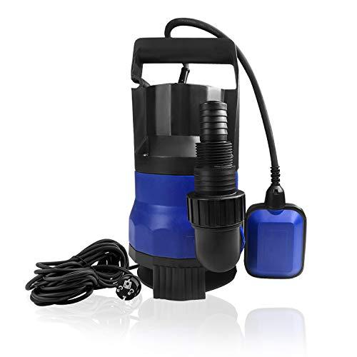 HENGMEI Schmutzwasserpumpe 400W Klarwasser Tauchpumpe Flachsaugend max. 5 m Förderhöhe, Fremdkörper bis 35 mm