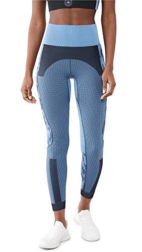 adidas by Stella McCartney Women's ASMC TruePurpose Seamless Leggings, Stone Blue/Black, Large