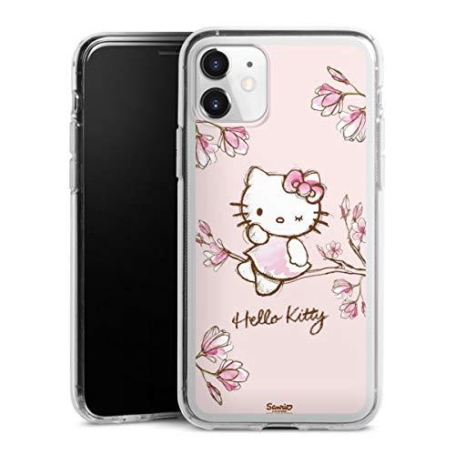 DeinDesign Silikon Hülle kompatibel mit Apple iPhone 11 Hülle transparent Handyhülle Hello Kitty Fanartikel Hanami