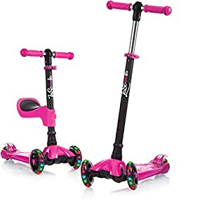 Lascoota Kick Scooter for Kids - Adjustable Height w/Extra-Wide Deck PU Flashing Wheels Great Kids Scooter & Toddler Scooter 3-12 Years Old (Pink, 2 in 1 with Seat)