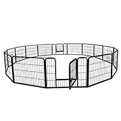 ZENY 31'' W x 24'' H Foldable Metal Exercise Pen & Pet Playpen Puppy Cat Exercise Fence Barrier Playpen Kennel - 16 Panels