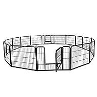 ZENY 24/40inch Dog Pen Foldable Metal 8/16 Panels Exercise Pen Pet Playpen Puppy Cat Exercise Fence Barrier Playpen Kennel