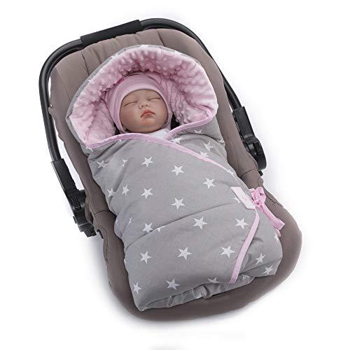 Sevira Kids - Manta envolvente, diseño de estrellas, color azul rosa Talla:0-6 meses