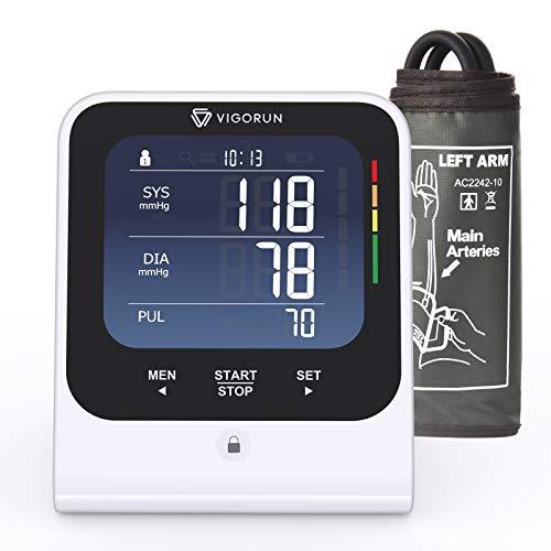 Vigorun Oberarm-Blutdruckmessgerät, Automatische Digitale Blutdruckmessgerät für den OberarmGroße Manschette, Großes Hintergrundbeleuchtetes LCD, Speicherfunktion für 2 Benutzer