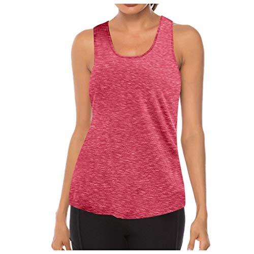 MMOOVV Camiseta deportiva para mujer, de malla, para yoga, entrenamiento, espalda cruzada, Rojo-01, XL