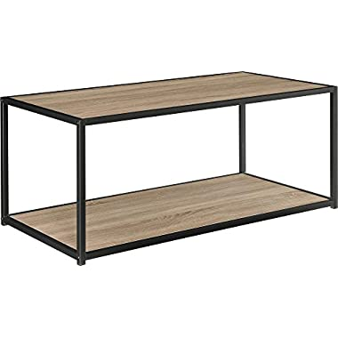 Ameriwood Home Canton Coffee Table with Metal Frame, Distressed Gray Oak