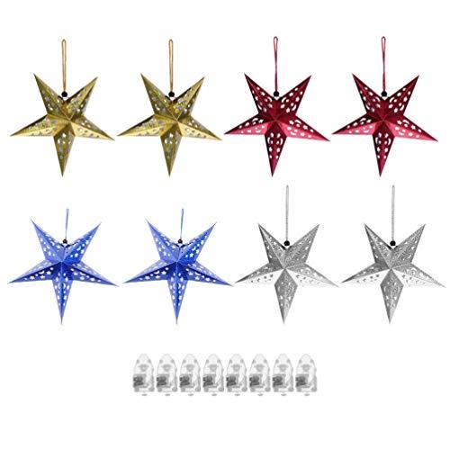 VOSAREA 8Pcs Christmas Paper Star Lantern Pantalla de Lámpara con Batería 3D Paper Star Pentagram Pantalla de Lámpara Copo de Nieve Pantalla de Techo para Fiesta de Bodas en Casa