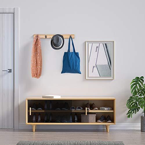 Love-KANKEI壁掛けフックウォールハンガー整理整頓アッシュウッドアルミ収納フック帽子掛け洋服掛けコート掛け2連+3連=5連省スペースナチュラル(5連フック)