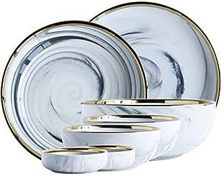 CAIJINJIN Bowl Nordic Céramique Vaisselle style Marbre Motif Combinaison Phnom Arts de la table bol de riz microplaques En...