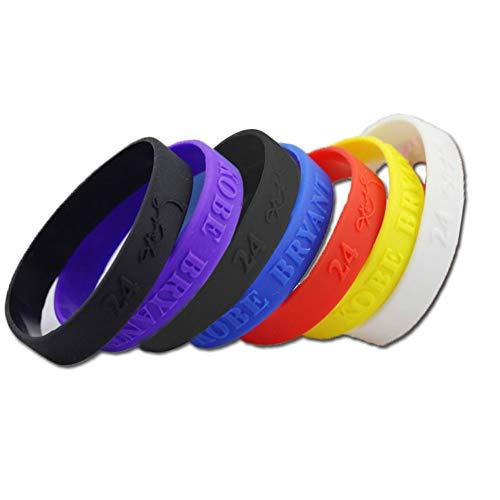 Ndier Pulsera de silicona de baloncesto, juego de 6 pulseras coloridas y elásticas estampadas Kobe bandas de muñeca deportivas unisex para adultos y Adolescente