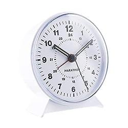 Marathon CL034001WH Mechanical Wind-Up Alarm Clock (White)