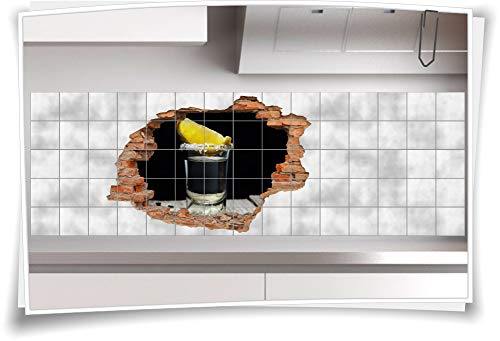 Tegelsticker-3D tegel-afbeelding-er tegel-tattoo muur doorbraak alcohol tequila party decoratie-ideeën glas zwart-geel citroen 135x90cm