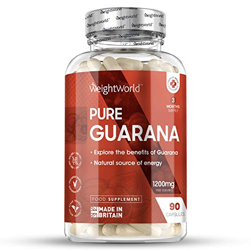 Premium Guarana Kapseln - Guarana Extrakt 1200mg mit 22{36d33ac9b50569048cc0a6b863495a79a397cfeb2404795650e3b593a0f0159e} Koffein pro Kapsel - Geprüfte Zutaten & Ohne Zusatzstoffe - 3 Monat Vorrat - 90 Kapseln vegan - WeightWorld