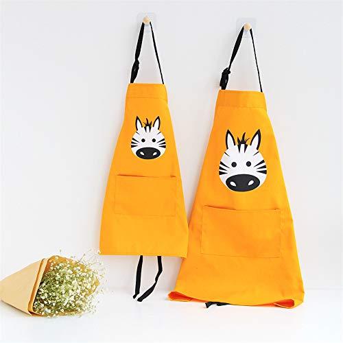 Lindong Süß Tier Schürze mit Tasche für Erwachsene Kinder Wasserdicht Baumwolle Leinen Küchenschürze Latzschürze Kochschürze Kinder Gelb Zebra