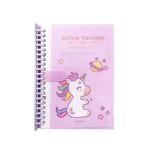 Monbedos - Cuaderno de notas horizontal con diseño de unicornio, color morado 20.5cm *14.2cm