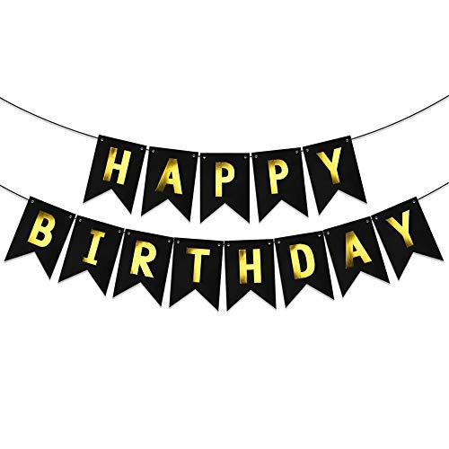 MEJOSER Happy Birthday Banderole Noir Bannière Joyeux Anniversaire Banner Design de la Personnalité Décoration pour Table Fête Party Anniversaire Cérémonie