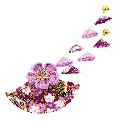 PRETYZOOM Kimono Japonés Flor Horquilla para El Cabello Ventiladores Forma Traje Chino Borla Horquillas para El Cabello para Mujeres Niñas Hanfu Púrpura