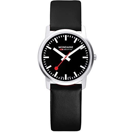 Mondaine Simply Elegant - Schwarze Lederuhr für Herren und Damen, A638.30350.14SBB, 41 MM