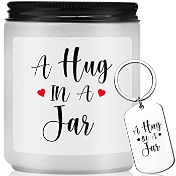 I Miss You Gifts Hugs Gifts for Women Girlfriend Boyfriend Friends Dad Mom - Valentines Day Get Well Mothers Day Thank You Gifts - Lavender Scented Jar Candles with Keychain  White 7oz