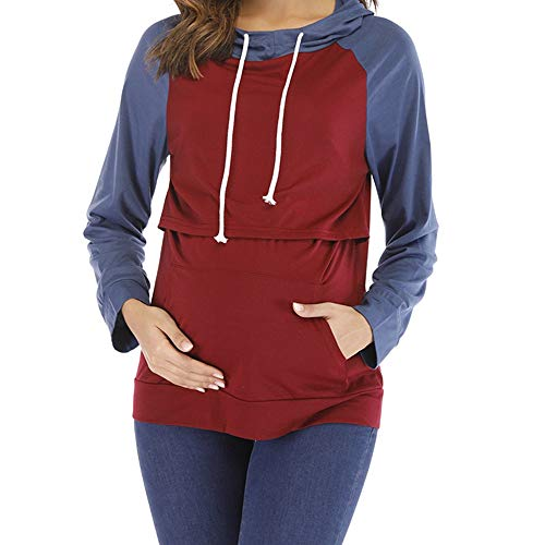 Vrouwen Zwangerschap Verpleging Contrast Kleur Hooded Pullover Borstvoeding Hoodie Sweatshirt (Blauw+Wijn Rood, M)