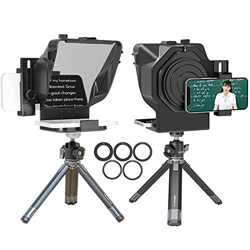 Mini Teleprompter para Youtube Tiktok Video Live Streaming, teléfono Inteligente, artefacto de vídeo, Samsung, grabación de cámara sin Espejo (Color : For Camera+Phone~with Stand)