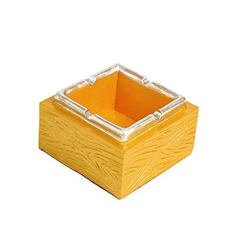 GuLL Cenicero cuadrado para puros, cenicero, cenicero, cenicero para salón, hogar, oficina, 9 x 9 x 5,5 cm, color dorado