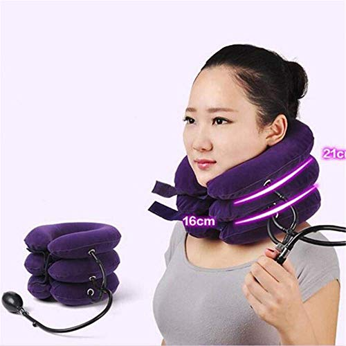 3 Layer Inflatable Air Cervical Neck Traction Device Soft Neck Collar for Pain Relief Neck Stretcher Pain Releave Purple