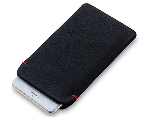 [alin] iPhone 8/7/6s/6 Plus(5.5インチ)本牛革レザー スリーブケース (ブラック/レッド)