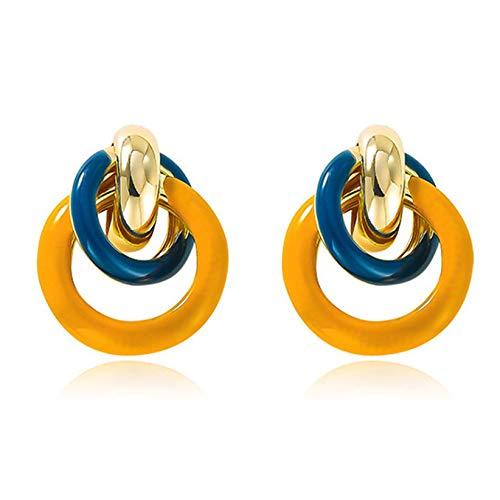 SJHFG Colorido círculo de cruz pendiente geometría contraste redondo 925 plata aguja pendientes joyería suave pendientes pendientes pendientes regalo para mujeres, verde + amarillo