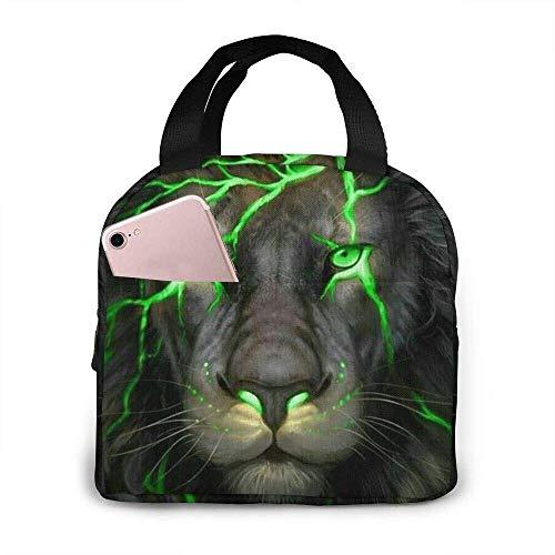 Jingliwang Lunch Bag Tote Bag Green Light Lion Lunch Box Insulated Bag Tote Bag Reusable Waterproof For Men/Women Work Travel