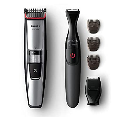 Philips Series 5000 Beard and Stubble Trimmer/Hair Clipper (0.4 mm - 7 mm) with Precision Multi Groom Styler - BT5205/83 by Philips