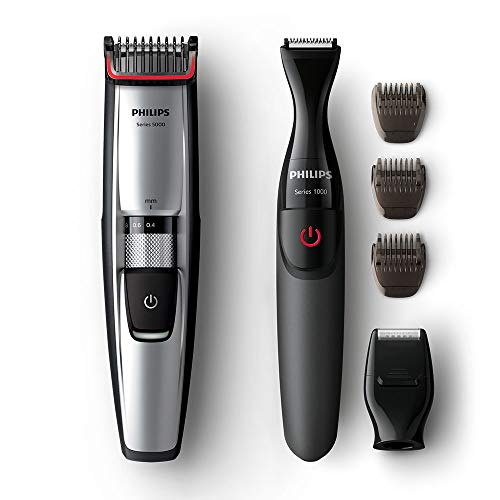 Philips Beard & Stubble Trimmer for Men, Series 5000, 17 Length Settings, Self-Sharpening Metal Blades, Includes Precision Beard Styler, UK 3-Pin Plug - BT5205/83