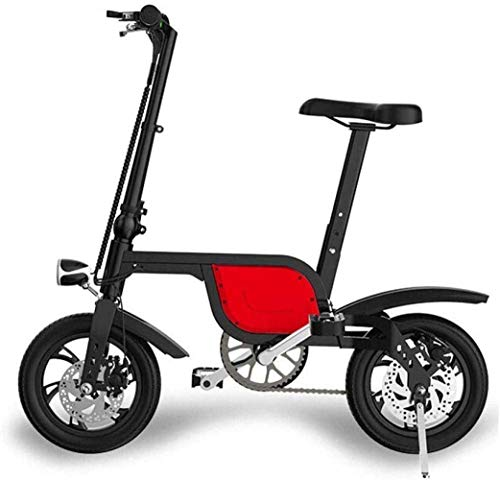 JXH Folding Electric Bike, Aluminium Rahmen Mini und Kleiner Folding Lithium-Batterie tragbare Falten Fahrrad-Batterie, für Männer und Frauen,Rot