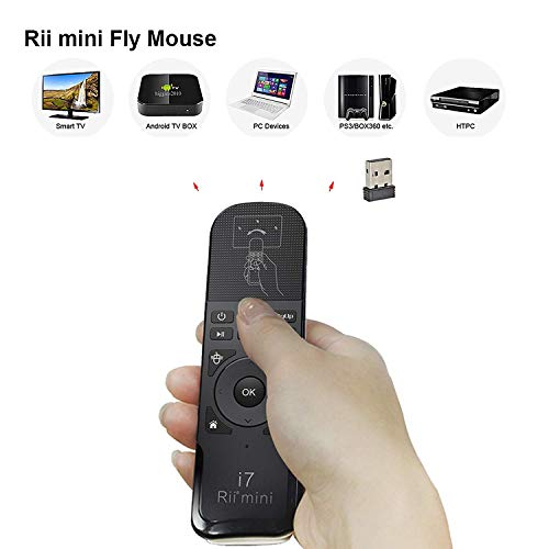 Rii KS07Remote Control Ergonomic with Multimedia Controls Compatible With Windows Mac OS X Linux Android–Smart TV–Xbox 360playstation 3and 4and One–Raspberry Pi