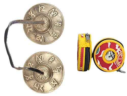 Gandhanra Tibetan Tingsha Glocke mit schönem Fall, für Klangheilung, Yoga, Meditation, Achtsamkeit -Fingerzimbeln,Hand auf Ton eingestellt,Handgemacht in Nepal,Mantra (Om Mane Padme Hum)