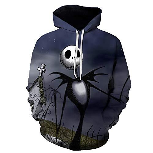 DerDer Halloween 3D impresión digital con capucha suéter de los hombres más tamaño Un esqueleto L
