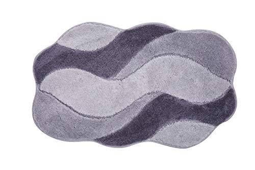 Grund Badteppich 100% Polyacryl, ultra soft, rutschfest, ÖKO-TEX-zertifiziert, 5 Jahre Garantie, CARMEN, Badematte 60x100 cm, grau