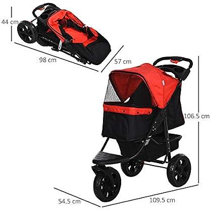 PawHut Folding Pet Stroller 3 Wheel Dog Jogger Travel Carrier Adjustable Canopy Storage Brake Mesh Window for Small Medium Dog Cat Red 2