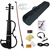 Electronic Violin, MIRIO Black Full Size 4/4 Vintage Solid Wood Metallic Electric/Silent Violin with Ebony Fittings, Carrying Case, Audio Cable, Rosin, Bow