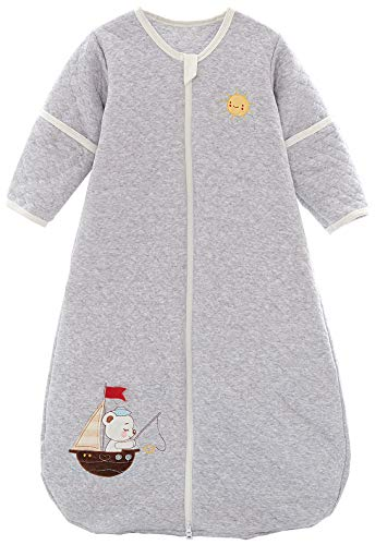 Chilsuessy Babyschlafsack Baby Ganzjahres Schlafsack mit abnehmbaren Ärmeln für Säugling Kinder Schlafsack Schlafanzug aus 100% Baumwolle, Grau, 90/Baby Höhe 75-95cm