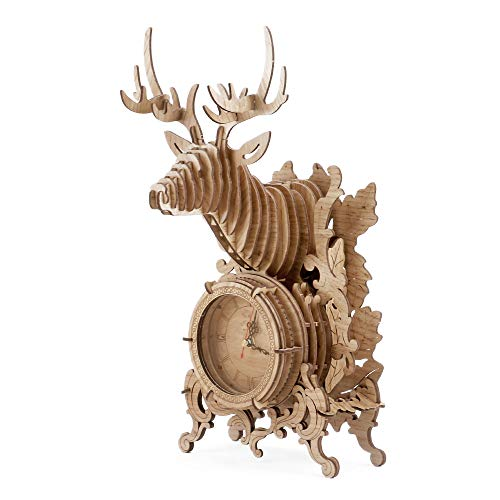 Amy&Benton 3D Jigsaws Wooden Puzzle Take Apart 52 PCS DIY Toy Laser-cut Building Clock Construction Kit - Reindeer Model Gift on Birthday/Anniversary/ Valentine's Day/Christmas (Light)