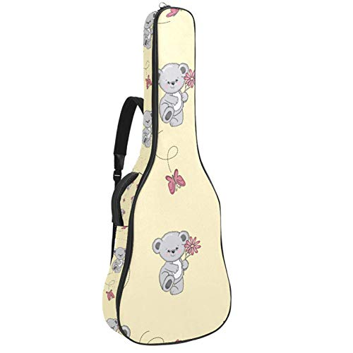 Funda para guitarra de 41 pulgadas, impermeable, tela Oxford acolchada, gruesa, protectora, para guitarra acústica con doble correa ajustable para el hombro