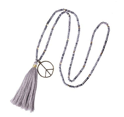 KELITCH Collier avec Pendentif Signe de Paix pour Femmes en Cristal de Perles ovales en Bois Nouvelle Collection