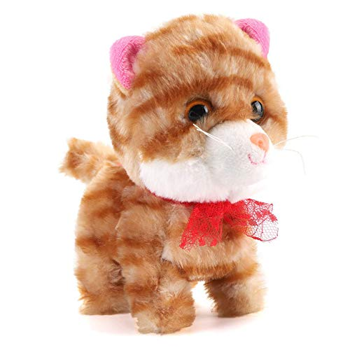 Liberty Imports Stuffed Cat Walking Plush Kitty Electronic Mechanical Kitten Toy That Walks, Meows, and Wags (Orange)