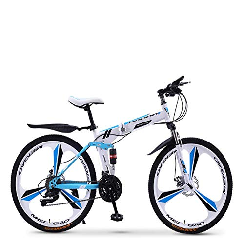 Pliuyb Folding Mountain Bike 21 24 27 30 Speed ??for Men and Women Adult Speed Adult Bicycle Double Race (Color : 21speed-26inch)