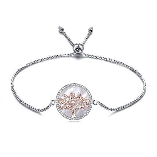 MEGA CREATIVE JEWELRY Damen Armband Rosegold Lebensbaum aus 925 Sterling Silber mit Perlmutt Kristalle Schmuck Geschenke Frauen
