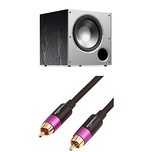 Polk Audio PSW10 10-Inch Powered Subwoofer and Amazon Basics Subwoofer Cable - 15 Feet