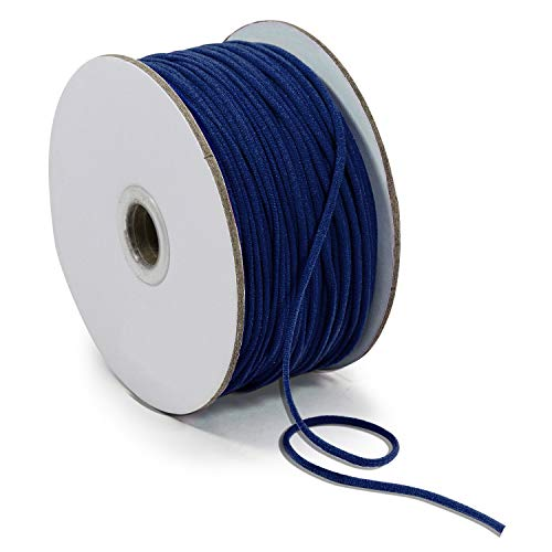 Expo International 1/8' Soft Knit Elastic Cord - 100 Yard Spool Stretch Trim, Navy Blue