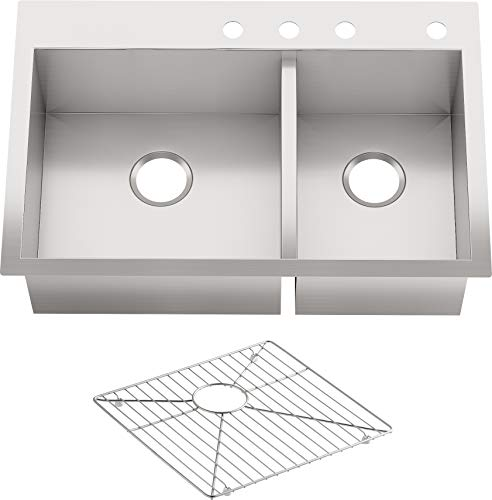 """KOHLER Vault 33"""" Double-Bowl Offset 18-Gauge Stainless Steel Kitchen Sink with Four Faucet Holes K-3823-4-NA Drop-in or Undermount Installation, 9 Inch Bowl"""